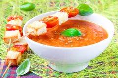 Kräm- soup för grönsak med tomaten och rostat bröd royaltyfria foton