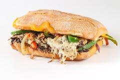 Smaklig vegetarisk smörgås i en ciabatta Royaltyfri Foto