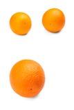 Smakliga apelsiner, på en vit bakgrund apelsiner för citrusfruktcitronlimefrukter Ny, mogen, saftig organisk citrusfrukt Näringsr Arkivbilder