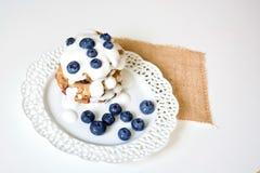 Smakliga blåbärpannkakor fotografering för bildbyråer