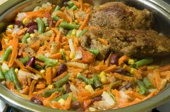 smakliga grönsaker för maträttmeat Royaltyfri Bild