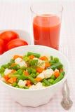 Smakliga grönsaker i den vita plattan med tomatfruktsaft Arkivfoto