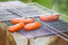 smakliga grillade korvar Steka på fyrpanna utomhus i bygden på sommar royaltyfria foton