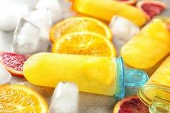 Smakliga isglassar med iskuber och citrusa skivor, Fotografering för Bildbyråer