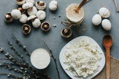 Smakliga matlagningmejeriingredienser Royaltyfria Foton