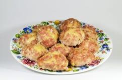 Smakliga meatballs på en plätera Fotografering för Bildbyråer
