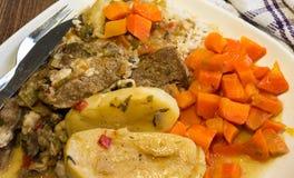 Smakliga meaty grönsaker fotografering för bildbyråer