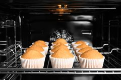 Smakliga muffin på den stekheta kuggen Royaltyfri Foto