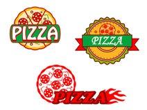 Smakliga pizzabaner och emblems Arkivbilder