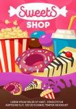 Smakliga sötsaker och snabbmat shoppar tecknad filmaffischen Royaltyfri Foto