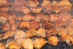 Smakliga saftiga stycken av kött som stekas på kol Grillfest på gallret royaltyfria bilder