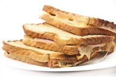 Smakliga tosts på en platta Royaltyfri Fotografi