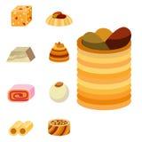 Smakligt bageri för östlig läcker för efterrättsötsakmat östlig för konfekt hemlagad för sortiment för vektor kaka för illustrati stock illustrationer