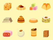 Smakligt bageri för östlig läcker för efterrättsötsakmat östlig för konfekt hemlagad för sortiment för vektor kaka för illustrati royaltyfri illustrationer