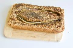 Smakligt bananbröd på trät royaltyfri fotografi