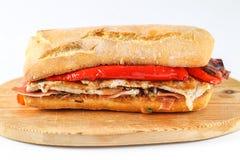 Smakligt griskött grillad serranitosmörgås i en ciabatta Arkivbilder