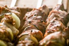 Smakligt griskött med lökar som är klara för en picknick Arkivbilder