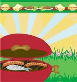 Smakligt kött på gallret - grilla partiinbjudan stock illustrationer