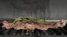 Smakligt kött släntrar av nötkött på elektriskt galler stock video