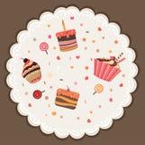Smakligt kort som göras av muffin royaltyfri illustrationer