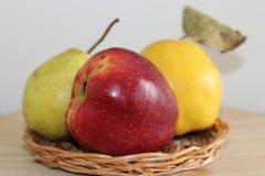 Smakligt och saftigt äpple, päron och kvitten royaltyfri foto