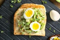 Smakligt rostat bröd med avokadot på träbräde royaltyfri bild