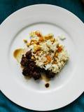 Smakligt sojabönakött med ris, havre och moroten Fotografering för Bildbyråer