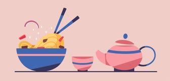 Smakligt woka kinesisk kokkonst Plan vektorillustration stock illustrationer