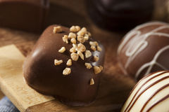 Smakosz Czekoladowej trufli Galanteryjny Ciemny cukierek Zdjęcia Royalty Free