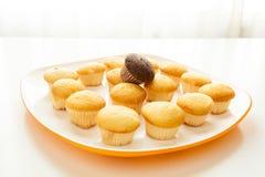 Smakowici żółci muffins i czekoladowy słodka bułeczka na wierzchołku Zdjęcia Royalty Free