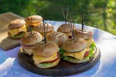 Smakowici hamburgery z serem, sałatą, cebulą i pomidorami, słuzyć plenerowego na drewnianym stole zdjęcie royalty free