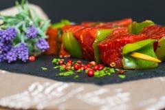 Smakowici mięsa i warzyw skewers Fotografia Royalty Free