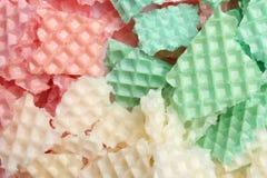 Smakowici zdruzgotani opłatki jako tło, zbliżenie obraz royalty free