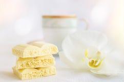 Smakowita biała porowata czekolada Fotografia Stock