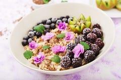 Smakowita i zdrowa oatmeal owsianka z owoc, jagody i lna ziarnami, zdrowe śniadanie obraz stock