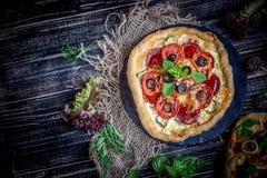 Smakowita pizza z warzywami i basilem obrazy royalty free