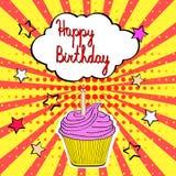 Smakowita urodzinowa babeczka z świeczką i słowa wszystkiego najlepszego z okazji urodzin w p ilustracji