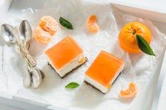 Smakowity cheesecake robić galaretowa i świeża mandarynka fotografia stock
