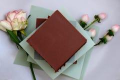 Smakowity czekoladowy domowej roboty glutenu torta kawałek na talerzu non zdjęcie royalty free