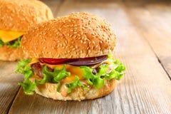 Smakowity domowej roboty hamburgeru składać się z babeczka, paszteciki, sałatka, czerwony oni Obraz Royalty Free