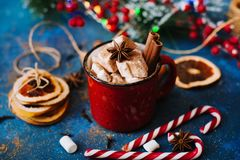 Smakowity gorący napój z marshmallows Obrazy Royalty Free