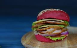 Smakowity hamburger, kanapka z czerwonym chlebem Obraz Royalty Free