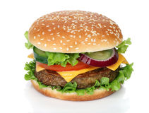 Smakowity hamburger odizolowywający na bielu Obrazy Royalty Free