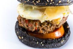 Smakowity hamburger z serową i czarną babeczką zdjęcie stock