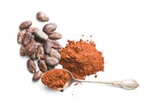 Smakowity kakaowy proszek i fasole Obraz Royalty Free