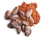 Smakowity kakaowy proszek i fasole Zdjęcie Stock