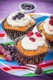 Smakowity malinki i czarnych jagod słodka bułeczka Obraz Royalty Free