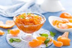 Smakowity mandarynka pomarańczowy dżem Tangerine confiture, marmolada Zdjęcie Royalty Free
