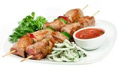 smakowity mięsny kebab piec na grillu shish Fotografia Stock