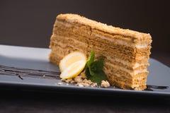 Smakowity napoleonu tort Zdjęcia Stock
